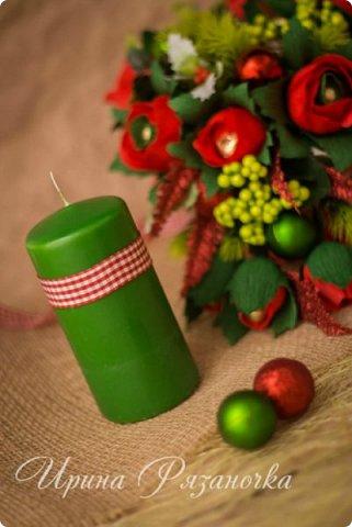 Всем здравствуйте! Вот так вот - впервые пришлось делать что то новогоднее аж в сентябре)))  Рождественская композиция со свечой в классической гамме  фото 8