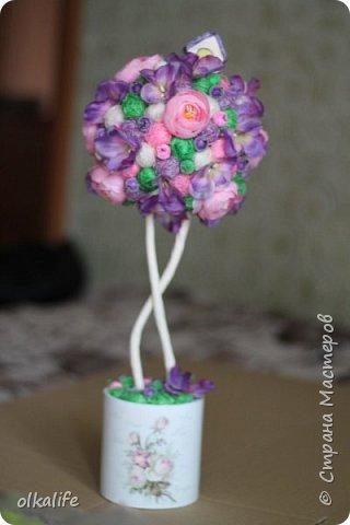 """После долгого ничего не деланья,ко мне пришла моя двоюродная сестра с просьбой сделать топиарии,красиво и удешивить процесс)))У её мамы(моей тёти) юбилей тематический """"Сад"""" Она вроде как садовница(но она по жизни садовница),гости должны были одеть на себя какой то цветок  и сестра на память решила сделать подарки на память от юбиляра.Так как это садовница подарки сестра придумала топиарчики.)))В семье руками что то делаю только я ,вот и попросила меня)))Я конечно не могла отказать и принялась  за работу.В каждую семью по топику. .Делала их разными.Не все сфоткала. фото 5"""