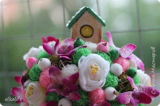 """После долгого ничего не деланья,ко мне пришла моя двоюродная сестра с просьбой сделать топиарии,красиво и удешивить процесс)))У её мамы(моей тёти) юбилей тематический """"Сад"""" Она вроде как садовница(но она по жизни садовница),гости должны были одеть на себя какой то цветок  и сестра на память решила сделать подарки на память от юбиляра.Так как это садовница подарки сестра придумала топиарчики.)))В семье руками что то делаю только я ,вот и попросила меня)))Я конечно не могла отказать и принялась  за работу.В каждую семью по топику. .Делала их разными.Не все сфоткала. фото 4"""