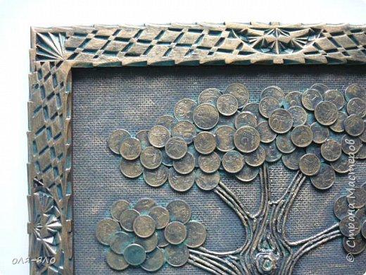 дерево из монеток 10,5,1 копейка.  рамка старая резная. делала разных три штуки. сфотографировать успела лишь это. фото 2