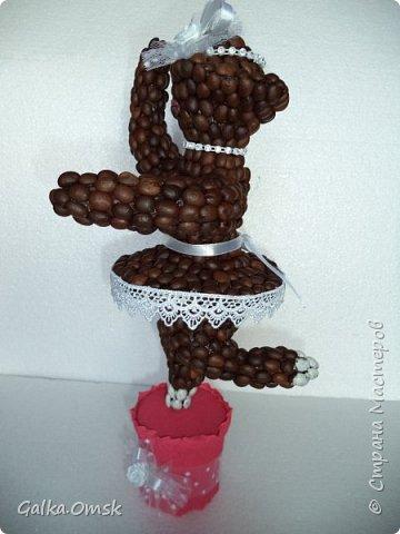 Эту скульптуру я создала для больших любителей кофе . На каркасе из проволоки  слепила фигуру балерины фото 2