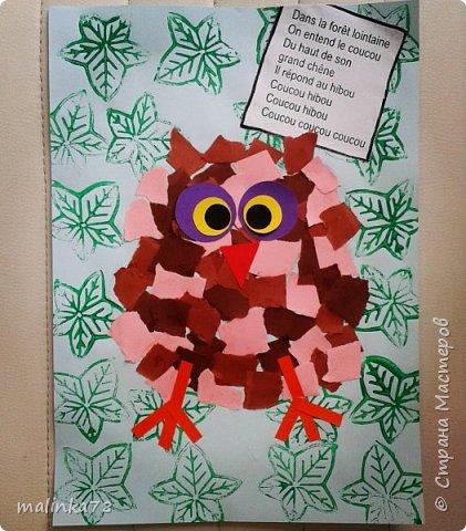 Клеим разного цвета бумагу предворительно ее надо нарвать на мелкие кусочки. Приклеиваем глазки, клюв и лапы и получается сова.