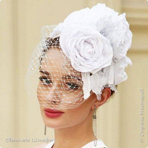 шляпка вуалетка для украшения прически невесты нежно персикового цвета фото 5