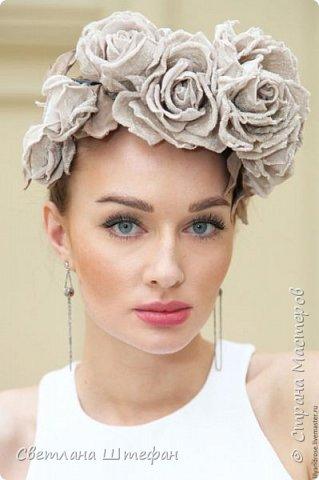 шляпка вуалетка для украшения прически невесты нежно персикового цвета фото 6