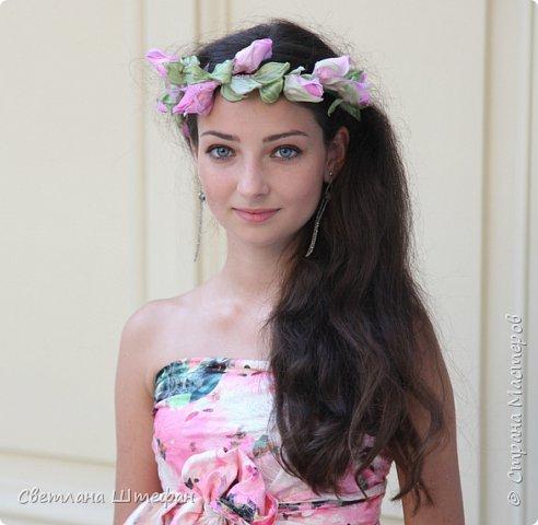 шляпка вуалетка для украшения прически невесты нежно персикового цвета фото 2