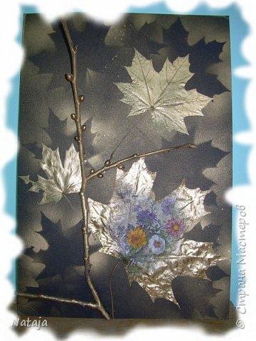 """Заинтересовала работа """"Декупаж на кленовом листочке"""" http://stranamasterov.ru/node/1054035 . Решила тоже попробовать. Искала салфетки. чтобы хоть как-то отвечали теме осени. Но попадались всё с букетами. Остановилась на этой салфетке, цветы вроде на астры похожи и не такие яркие, сочные. Один лист на картоне выглядит как-то сиротливо. Решила сделать ещё один - черно-белая птичка сидит на цветущей (сине-голубого цвета) ветке.  Положила два листка на картон. Всё равно что-то не то.  фото 1"""