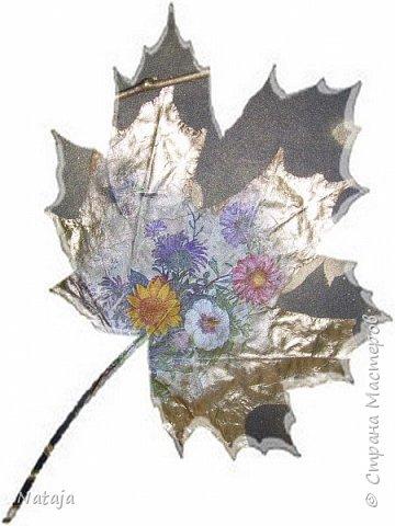 """Заинтересовала работа """"Декупаж на кленовом листочке"""" http://stranamasterov.ru/node/1054035 . Решила тоже попробовать. Искала салфетки. чтобы хоть как-то отвечали теме осени. Но попадались всё с букетами. Остановилась на этой салфетке, цветы вроде на астры похожи и не такие яркие, сочные. Один лист на картоне выглядит как-то сиротливо. Решила сделать ещё один - черно-белая птичка сидит на цветущей (сине-голубого цвета) ветке.  Положила два листка на картон. Всё равно что-то не то.  фото 6"""