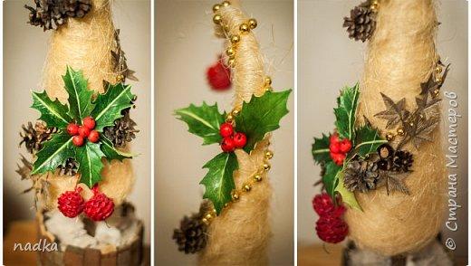 потихонечку начала готовиться к Новому году. Первая попытка сделать елку из сизали. С горшком да, перестаралась)) фото 2