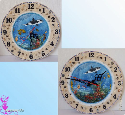 Всем жителям Страны, добрый вечер! Сотворились у меня такие вот часы морские, первые диаметром 25 см, вторые - 30 см. Делала на заказ, заказали морскую тему... ракушки, камушки, рыбки... Ну и вот придумалось такое: фото 1