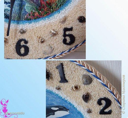 Всем жителям Страны, добрый вечер! Сотворились у меня такие вот часы морские, первые диаметром 25 см, вторые - 30 см. Делала на заказ, заказали морскую тему... ракушки, камушки, рыбки... Ну и вот придумалось такое: фото 4
