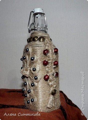 декор бутылки шпагатом и бусинами фото 1