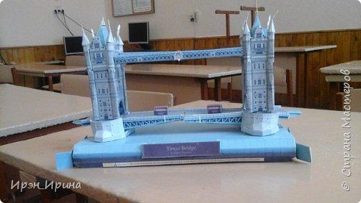 Модель Тауэрского моста сделали с детьми после уроков. Детали к модели распечатали с интернета. фото 3