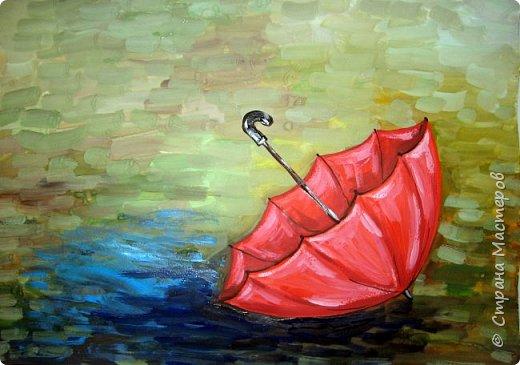 Осень не отпускает, поэтому продолжаю осеннюю тему.  В слякотную, дождливую погоду необходимой вещью является зонтик, вот его и предлагаю нарисовать. фото 7