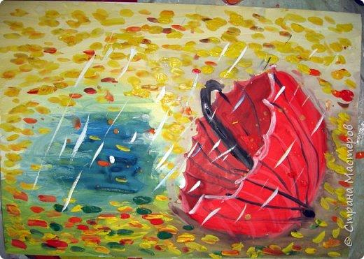 Осень не отпускает, поэтому продолжаю осеннюю тему.  В слякотную, дождливую погоду необходимой вещью является зонтик, вот его и предлагаю нарисовать. фото 13