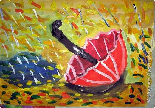 Осень не отпускает, поэтому продолжаю осеннюю тему.  В слякотную, дождливую погоду необходимой вещью является зонтик, вот его и предлагаю нарисовать. фото 14