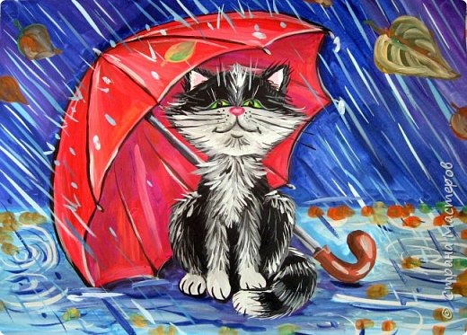 Осень не отпускает, поэтому продолжаю осеннюю тему.  В слякотную, дождливую погоду необходимой вещью является зонтик, вот его и предлагаю нарисовать. фото 24