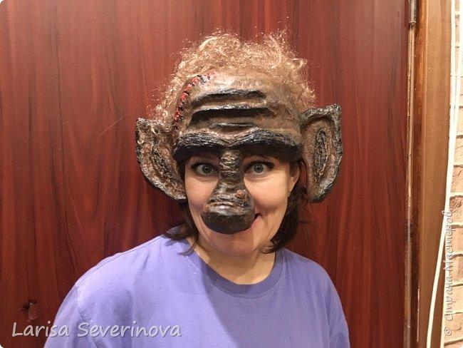 Вот такая маска у меня получилась.В технике папье маше фото 2