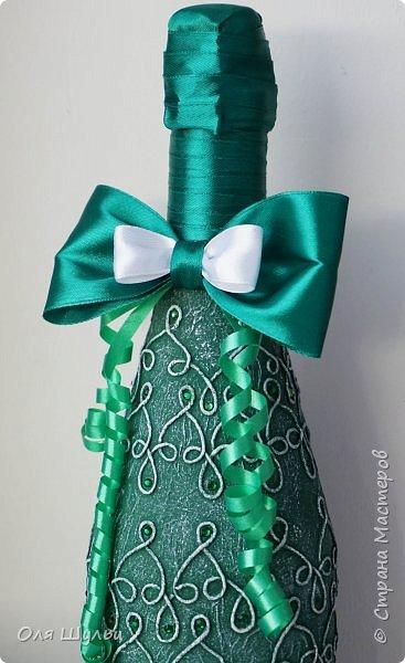 Всем привет))  Декор бутылки - нитки, стразы, атласная лента. фото 2