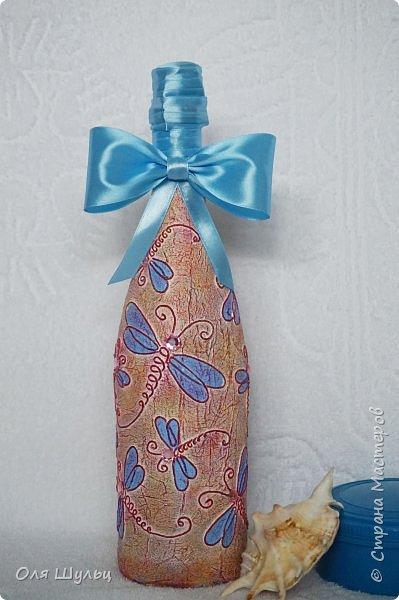 Всем привет))  Декор бутылки - нитки, стразы, атласная лента. фото 4