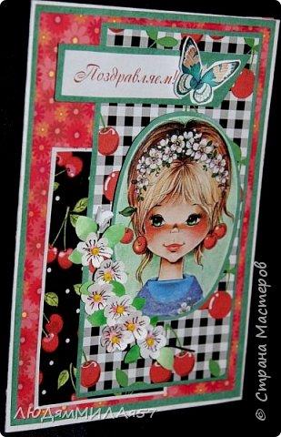 Здравствуйте жители и гости СМ!Сегодня я покажу вам открытки ,которые объединяет одно -присутствие вишен на картинках.Подруга попросила сделать детскую открытку на День рождения внучки,ну я и сделала на выбор,Открытка имениннице понравилась и я уже получила огромную благодарность по интернету. фото 13