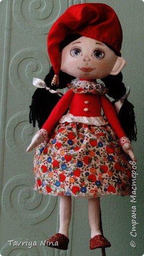 Текстильная кукла ,лицо расписано акриловыми красками.Волосы из шерстяной пряжи. Одежда-хлопок,трикотаж. фото 2