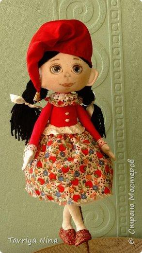 Текстильная кукла ,лицо расписано акриловыми красками.Волосы из шерстяной пряжи. Одежда-хлопок,трикотаж. фото 1