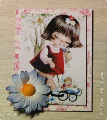 """Давно я смотрю на открыточки испанской фирмы Gallarda, уж очень они мне нравятся, эти милые девчонки и мальчишки. Решилась я все же сделать АТС-очки с их """"участием"""". фото 6"""