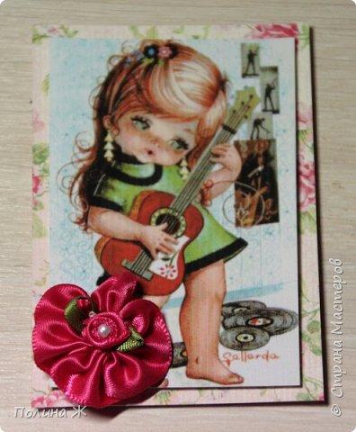 """Давно я смотрю на открыточки испанской фирмы Gallarda, уж очень они мне нравятся, эти милые девчонки и мальчишки. Решилась я все же сделать АТС-очки с их """"участием"""". фото 7"""