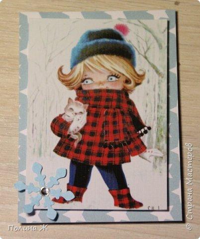 """Давно я смотрю на открыточки испанской фирмы Gallarda, уж очень они мне нравятся, эти милые девчонки и мальчишки. Решилась я все же сделать АТС-очки с их """"участием"""". фото 2"""