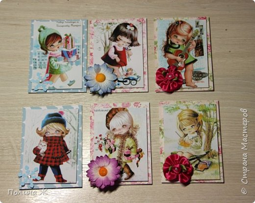 """Давно я смотрю на открыточки испанской фирмы Gallarda, уж очень они мне нравятся, эти милые девчонки и мальчишки. Решилась я все же сделать АТС-очки с их """"участием"""". фото 1"""