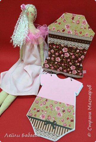 Альбом для девочки с мягкой тканевой обложкой. Выполнен в стиле скрапбукинг. Размер 20х17 см, 8 разворотов. фото 8