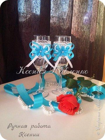 Бокалы к свадьбе в нежно голубом цвете. фото 1