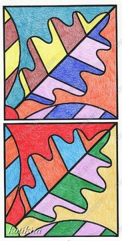 После долгого отсутствия у меня появилась возможность показать то немногое, что я и мои внуки смогли сделать. Эту работу я сделала как образец для уроков рисования , воспользовавшись изображением на сайте krokotak ( рис.2 ). Раскрашивала карандашами. Получилось немного пестро, но я не стала переделывать. Красила отдельно каждый фрагмент, затем все сосканировала, и в компьютере скомпоновала. По полученному изображению раскрашенные фрагменты приклеивала к картону. Сверху готовую работу защитила скотчем (на рис.1 изображен компьютерный вариант компоновки, фото не получилось из-за бликов на скотче). фото 4