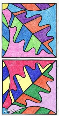 После долгого отсутствия у меня появилась возможность показать то немногое, что я и мои внуки смогли сделать. Эту работу я сделала как образец для уроков рисования , воспользовавшись изображением на сайте krokotak ( рис.2 ). Раскрашивала карандашами. Получилось немного пестро, но я не стала переделывать. Красила отдельно каждый фрагмент, затем все сосканировала, и в компьютере скомпоновала. По полученному изображению раскрашенные фрагменты приклеивала к картону. Сверху готовую работу защитила скотчем (на рис.1 изображен компьютерный вариант компоновки, фото не получилось из-за бликов на скотче). фото 5