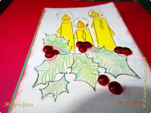 """Тиснение листьям делал на кусочке линолеума. А сами листики вырезала из фотокартона. Рисовала на акварельной бумаге с текстурой """"лён"""". фото 8"""