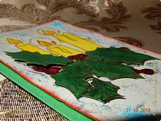 """Тиснение листьям делал на кусочке линолеума. А сами листики вырезала из фотокартона. Рисовала на акварельной бумаге с текстурой """"лён"""". фото 3"""