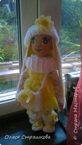 Тыквоголовка. Тряпичная куколка. Милая блондинка Алиса. На пуговичном креплении. Волосики-трассы для кукол. Ручки и ножки подвижные. Вся одежда снимается.  Стоит на подставочке.  фото 5
