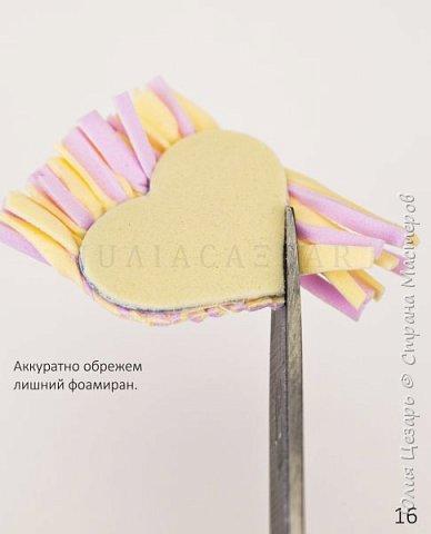 Небольшой мастер-класс по созданию вязаного сердечка из фоамирана. Такие сердечки применимы в декоре. Также их можно использовать в качестве броши, резинки, заколки и т.д. В МК я показываю как сделать именно такое сердечко, но Вы можете использовать любые формы, размеры и цвета))) (Можно использовать обрезки фоамирана;)) фото 17