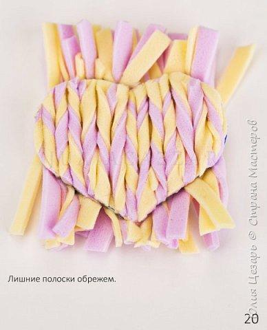 Небольшой мастер-класс по созданию вязаного сердечка из фоамирана. Такие сердечки применимы в декоре. Также их можно использовать в качестве броши, резинки, заколки и т.д. В МК я показываю как сделать именно такое сердечко, но Вы можете использовать любые формы, размеры и цвета))) (Можно использовать обрезки фоамирана;)) фото 21