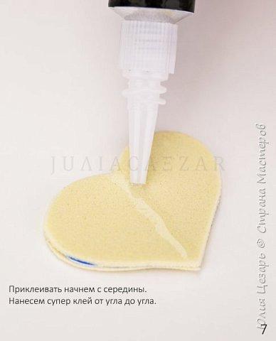 Небольшой мастер-класс по созданию вязаного сердечка из фоамирана. Такие сердечки применимы в декоре. Также их можно использовать в качестве броши, резинки, заколки и т.д. В МК я показываю как сделать именно такое сердечко, но Вы можете использовать любые формы, размеры и цвета))) (Можно использовать обрезки фоамирана;)) фото 8