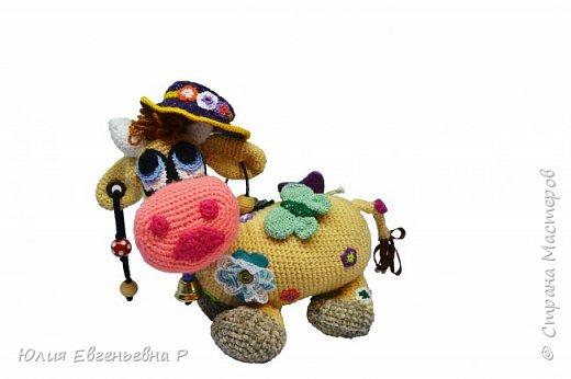 Моему маленькому сыну очень нравятся коровы с того момента, как только он начал смотреть на игрушки. Наверное, за большие добрые глаза. Тогда я решила связать мягкую игрушку «Чудо-корова». В процессе вязания у меня появилась идея совместить красочную мягкую игрушку с развивающими элементами. В итоге получилась не просто мягкая игрушка, а целый развивающий центр. Игрушка способствует развитию мелкой моторики, тактильным ощущениям и слуховому развитию.  Вот что получилось:  фото 1