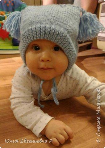 """Т.к. резко наступили холода, пришлось в срочном порядке вязать маленькому внуку зимнюю шапку. Шапка связана как обычный чепчик чулочной вязкой, затылочная часть выполнена узором """"Жемчужный"""". фото 1"""