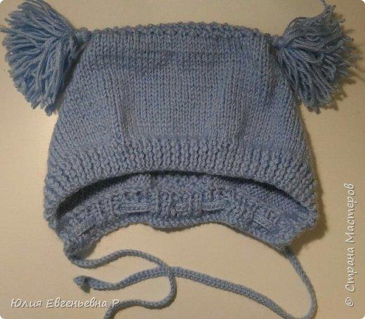 """Т.к. резко наступили холода, пришлось в срочном порядке вязать маленькому внуку зимнюю шапку. Шапка связана как обычный чепчик чулочной вязкой, затылочная часть выполнена узором """"Жемчужный"""". фото 2"""