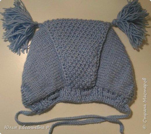 """Т.к. резко наступили холода, пришлось в срочном порядке вязать маленькому внуку зимнюю шапку. Шапка связана как обычный чепчик чулочной вязкой, затылочная часть выполнена узором """"Жемчужный"""". фото 3"""