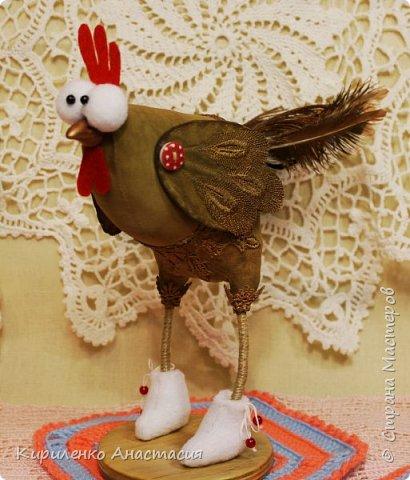 Добрый вечер! Принимайте петушка текстильного, захотелось такого, подсмотрела идею у Ирины Смольковой. Сделала свою выкройку, решила сделать кофейную тонировку. фото 4