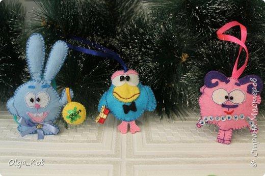 "Елочные игрушки "" Смешарики"" из фетра фото 4"