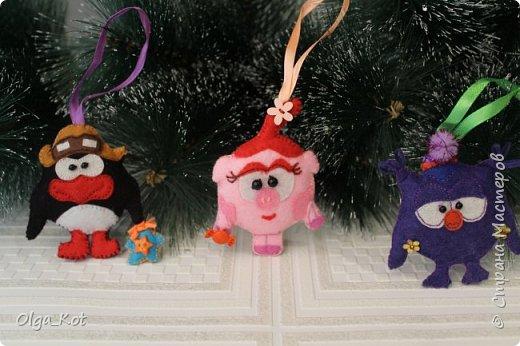 "Елочные игрушки "" Смешарики"" из фетра фото 5"