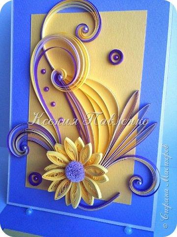 Открытка в желто-лиловом цвете. фото 3