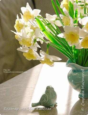 Нарциссы из холодного фарфора. фото 1