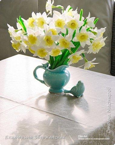 Нарциссы из холодного фарфора. фото 4